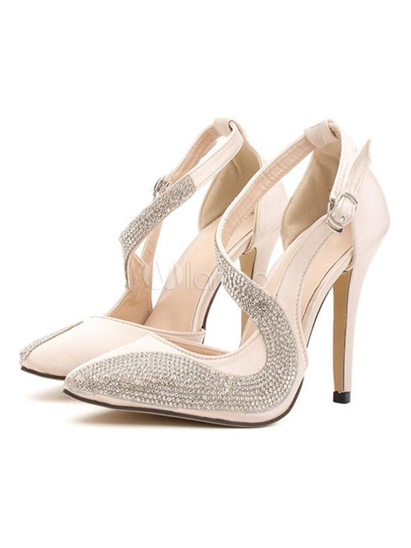 Buy Women's Evening Shoes High Heel Pointed Toe Rhinestones Ivory Stiletto Pumps for $44.99 in Milanoo store