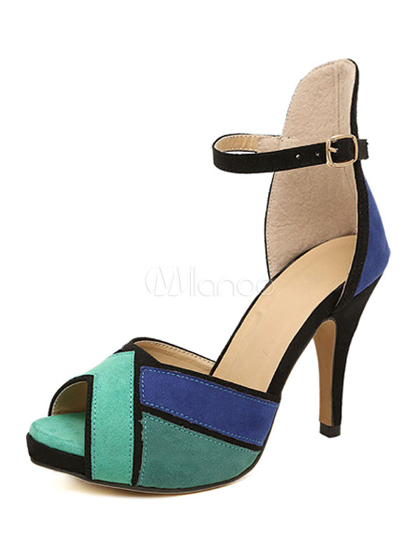 High Heel Sandals Suede Blue Peep Toe Printed Ankle Strap Sandal Shoes For Women
