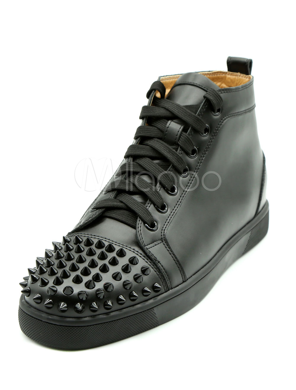 Buy Men's Black Sneakers Leather Round Toe Lace Up Rivets High Top Skate Shoes for $85.49 in Milanoo store