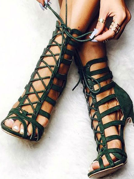 outlet store sale best loved best online Olive Gladiator Sandals Women's Peep Toe Cut Out Strappy Sandals ...