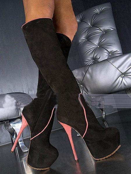 Knee High Boots Stiletto Heel Almond Toe Two Tone Nubuck Women's Boots