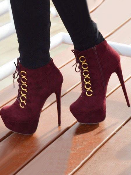 Burgundy Ankle Boots Stiletto Heel Lace Up Almond Toe Nubuck Women's Booties