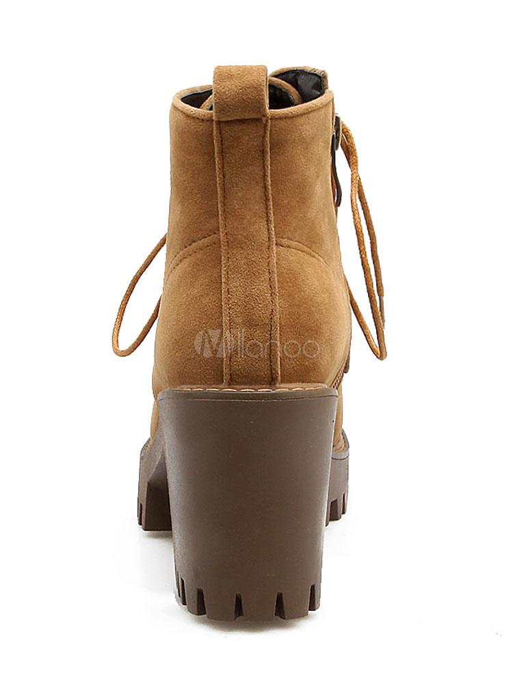 6ef1692c5 Bottine femme à bout rond et talons épais en cuir suédé unicolore avec  lacets Boots
