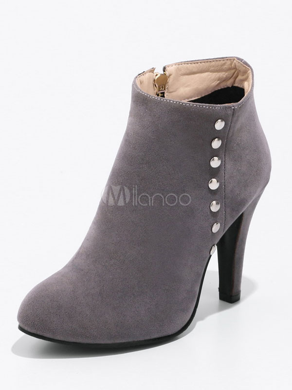 Grey Ankle Boots Suede Round Toe Rivets Zip Up Booties For Women