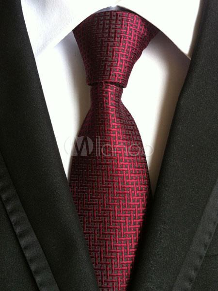 Red Men's Ties Polyester Artwork Dress Tie
