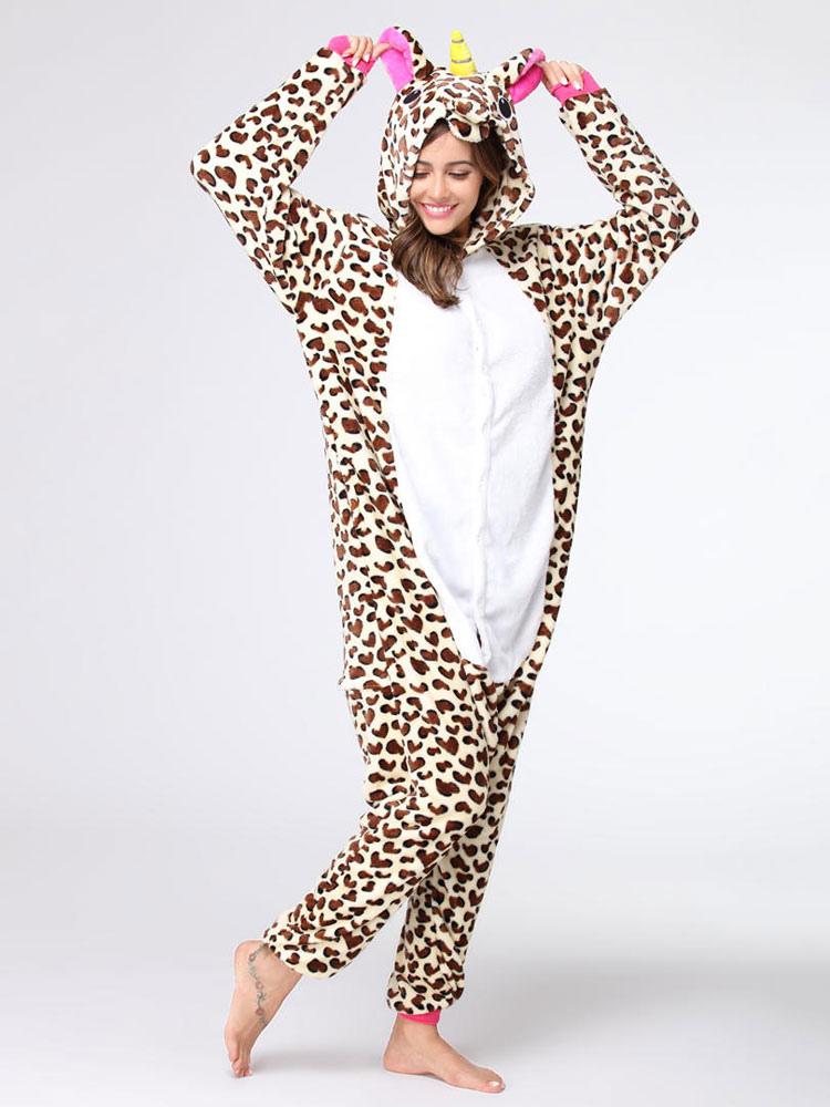 Buy Onesie Kigurumi Unicorn Unisex Leopard Flannel Winter Jumpsuit Halloween Pajamas for $19.99 in Milanoo store