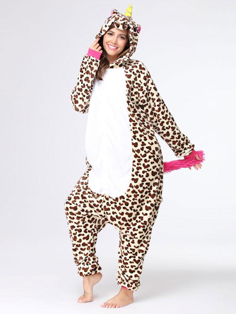 ... Onesie Kigurumi Unicorn Unisex Leopard Flannel Winter Jumpsuit  Halloween Pajamas-No.2 ... de632c8985263