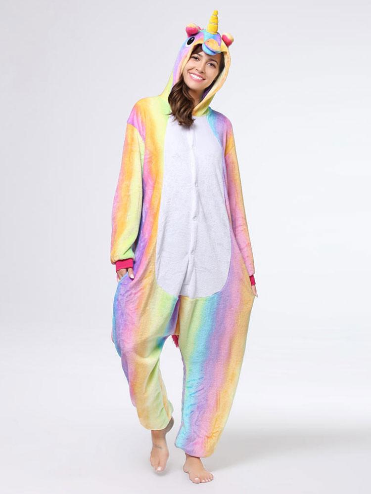 df7b0d93bf44 Rainbow Unicorn Kigurumi Pajamas Onesie For Adults Halloween Costume-No.1  ...