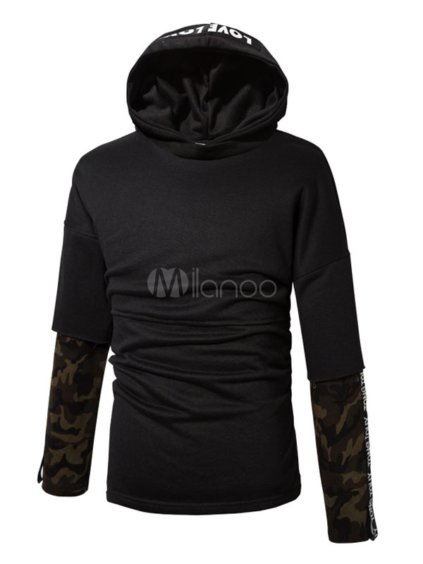Buy Black Pullover Sweatshirt Hooded Long Sleeve Printed Regular Fit Hoodie for $32.29 in Milanoo store