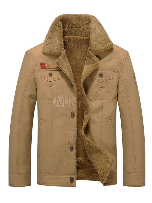 Buy Khaki Winter Jacket Men's Turndown Collar Long Sleeve Regular Fit Short Jackets for $59.39 in Milanoo store