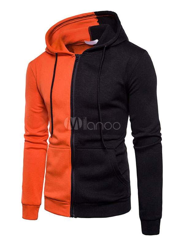 Orange Hoodie Jacket Hooded Long Sleeve Two Tone Regular Fit Sweatshirt For Men