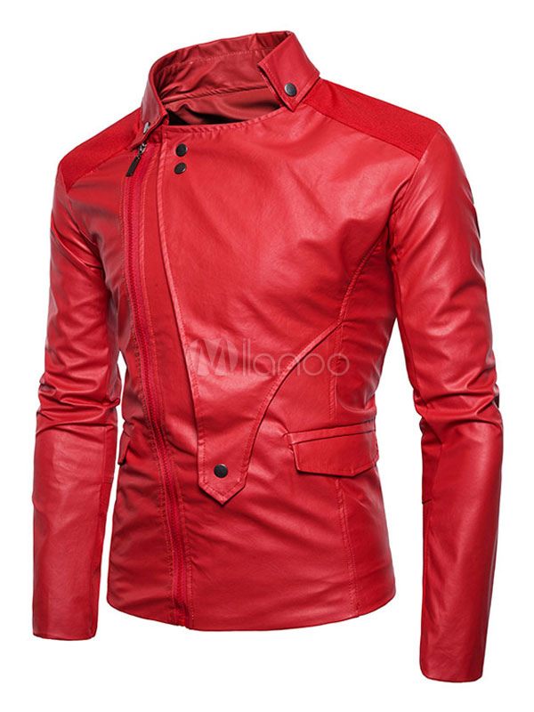 Buy Red Moto Jacket Long Sleeve Turndown Collar Regular Fit PU Jackets For Men for $53.99 in Milanoo store