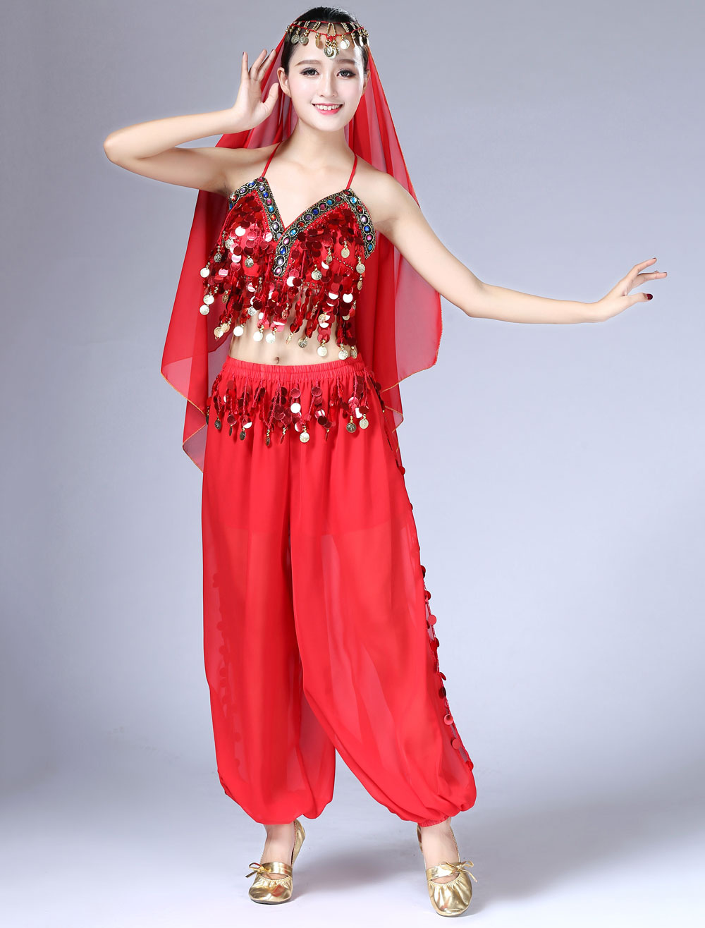 Belly Dance Costume Chiffon Red Women's Pants With Top And Headband