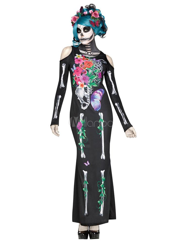Tag der Toten Halloween Sugar Skull Damen schwarz Skelett gedruckt ...