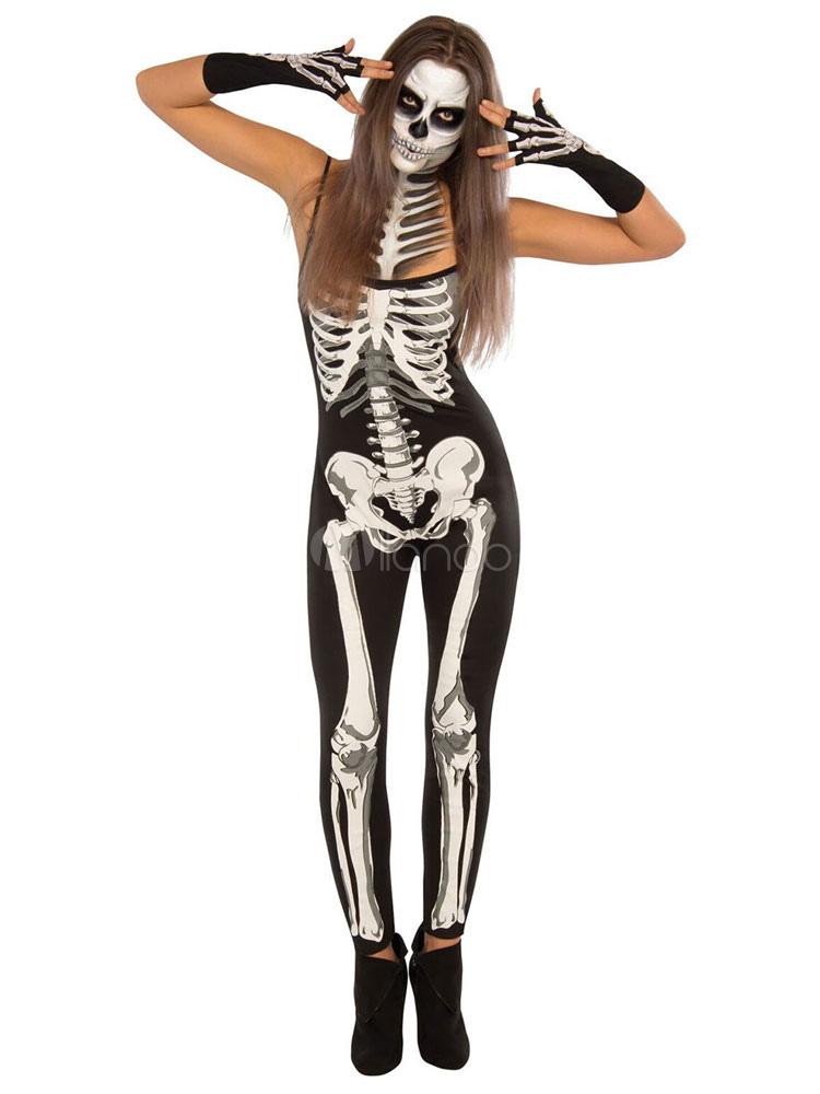 a049518fb150 Jour des Morts Costume · Costume d Halloween d horreur Crâne de sucre  Combinaison imprimée squelette noir avec des