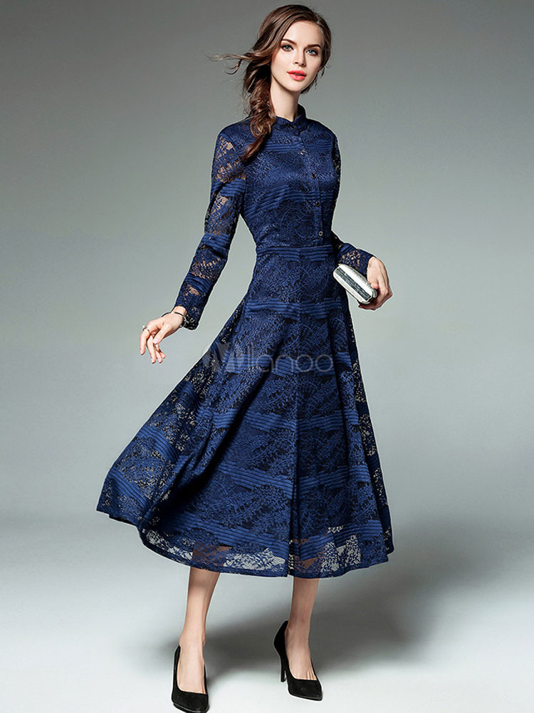 Buy Women's Lace Dresses Stand Collar Long Sleeve Shaping Deep Blue Skater Dress for $44.99 in Milanoo store