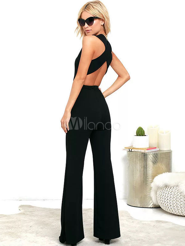 5ff163723cd ... Black Long Jumpsuit Plunging Neck Sleeveless Criss Cross Backless Wide  Leg Jumpsuits For Women-No