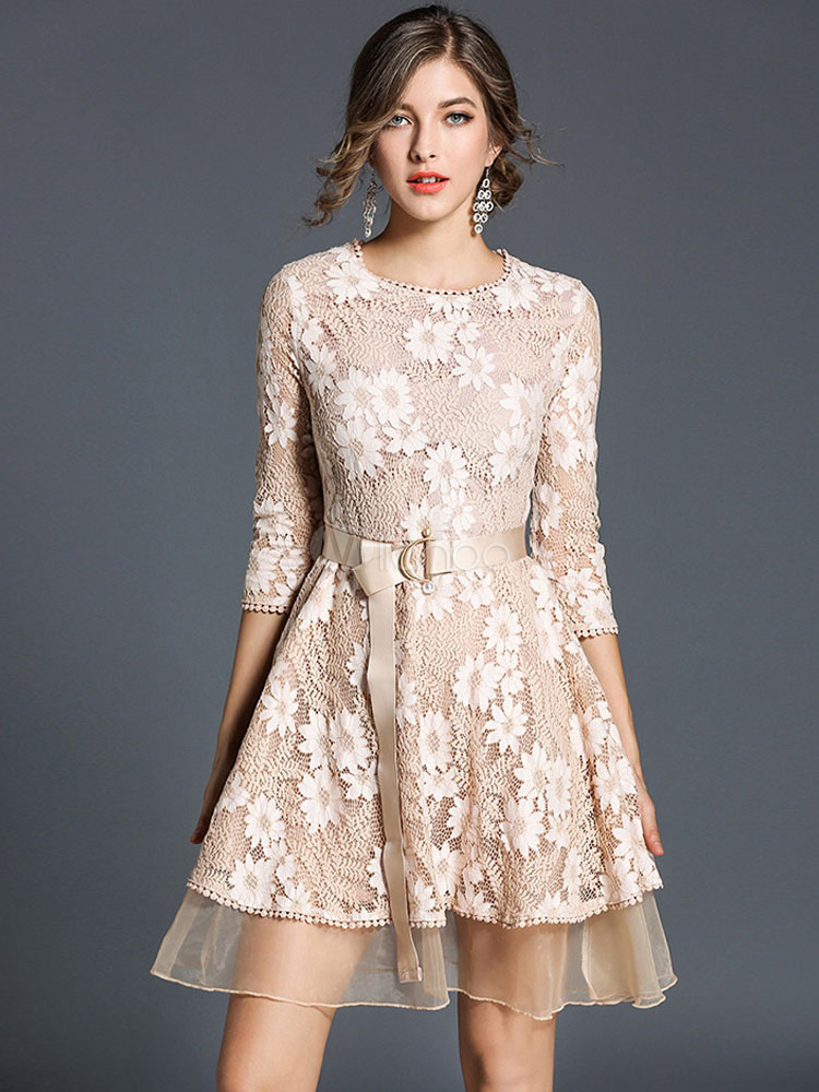 Buy Lace Skater Dress Round Neck Long Sleeve Apricot Jacquard Women's Short Dresses for $41.39 in Milanoo store