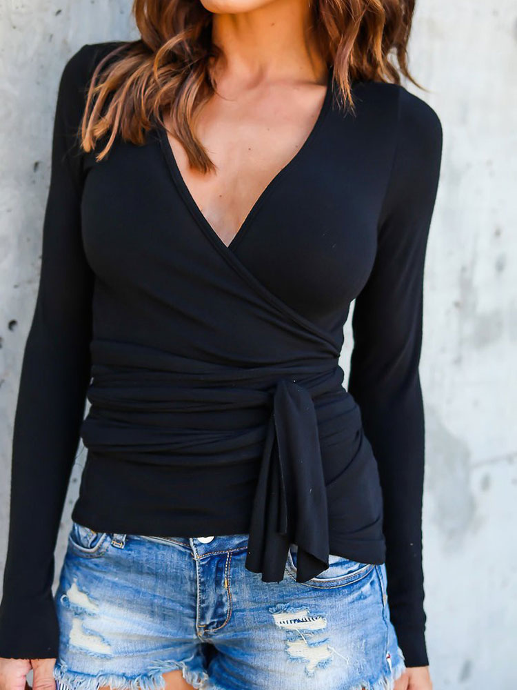 Black T-Shirt V Neck Long Sleeve Wrap Top For Women