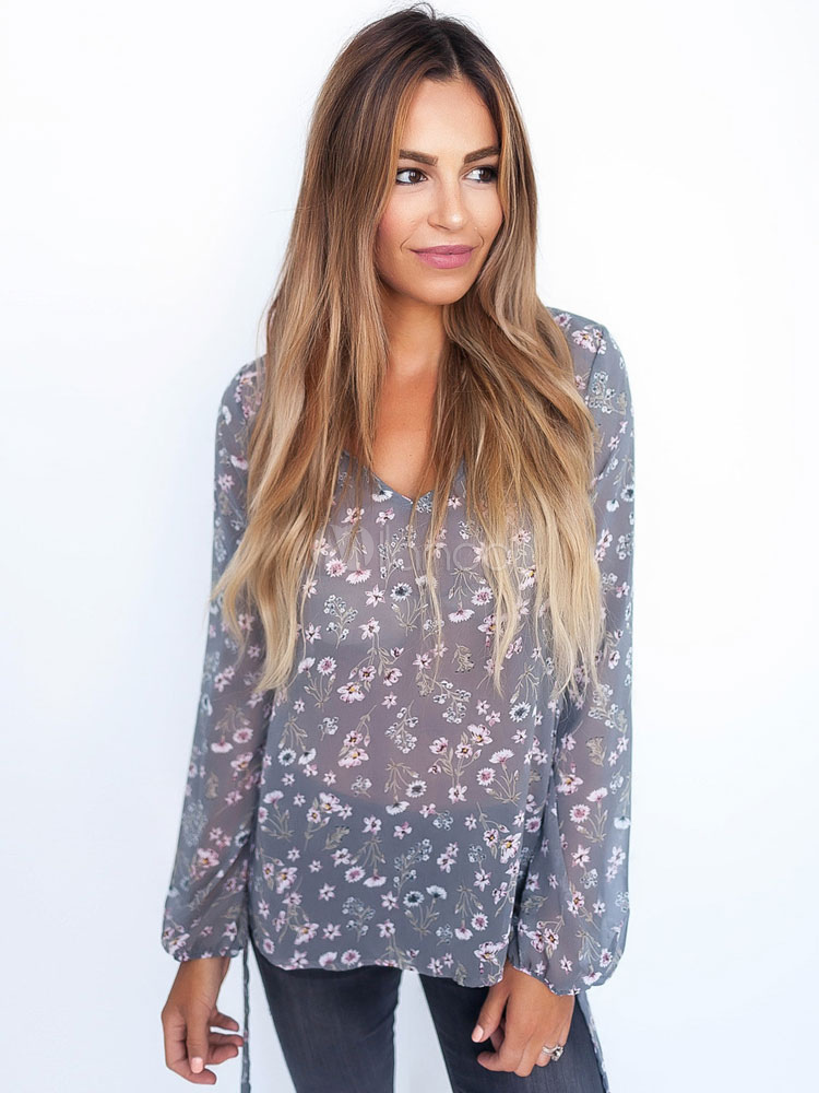 Buy Light Blue Blouses V Neck Long Sleeve Chiffon Floral Print Top For Women for $22.99 in Milanoo store