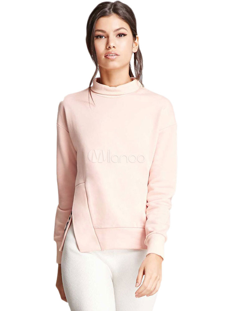 Buy Pink Casual Sweatshirt High Collar Long Sleeve Split Embroidered Top For Women for $18.39 in Milanoo store