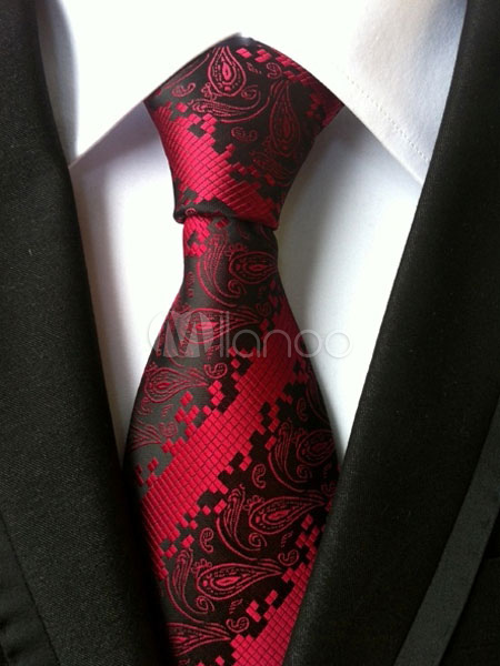 Red Chic Ties Jacquard Polyester Men's Neck Tie