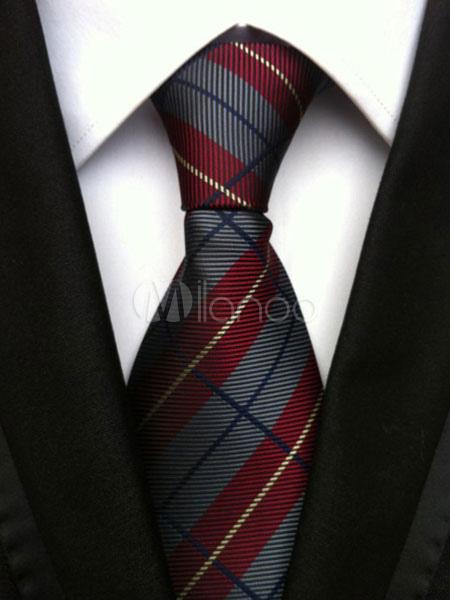 Buy Grey Chic Ties Plaid Men's Neck Tie for $4.19 in Milanoo store