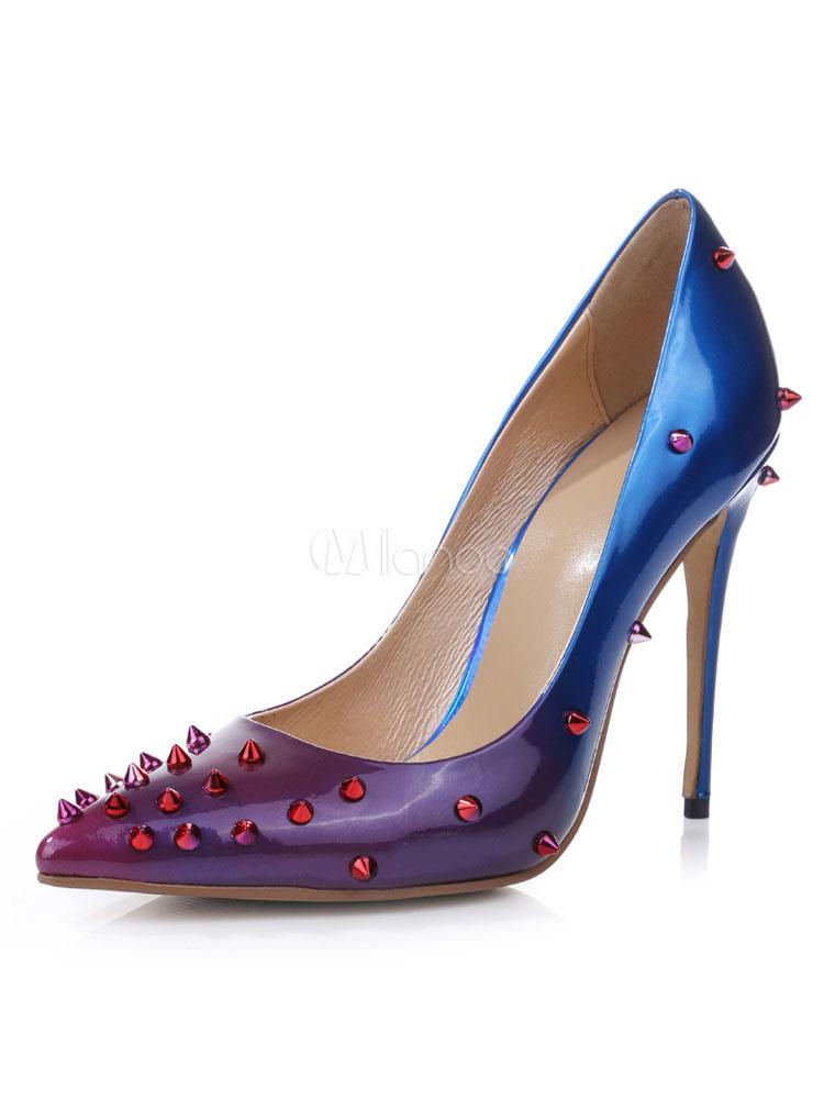 Zapatos de tacón de puntera puntiaguada Charol PU Gradientes de tacón de stiletto YjCY0eWxi