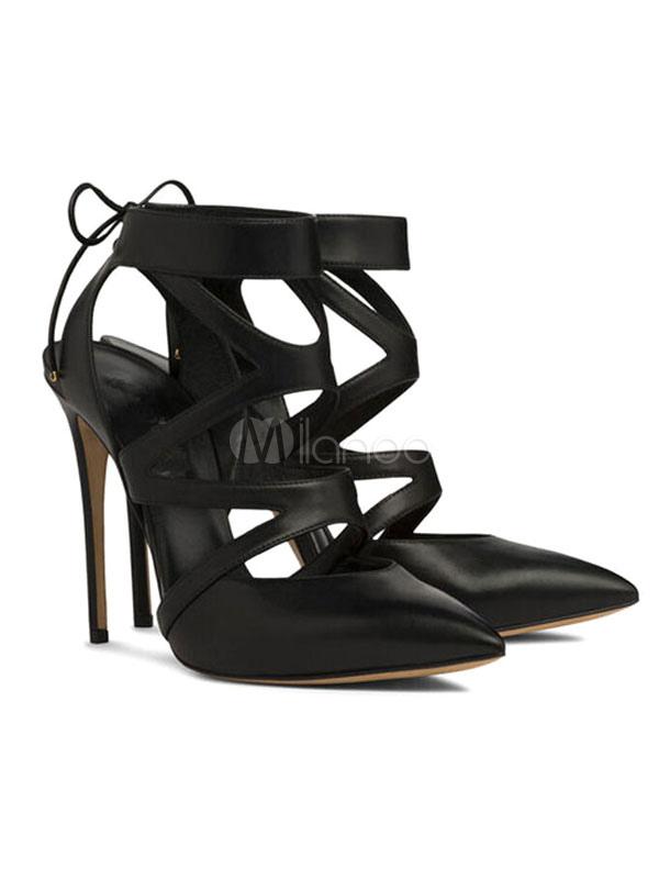 Zapatos de tacón de puntera puntiaguada de piel de carnero mate negros Color liso de tacón de stiletto h6jAXLLb