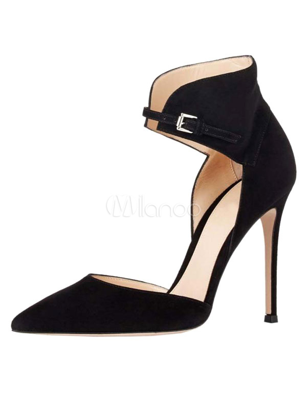 Buy Women's High Heels Suede Black Pointed Toe Designed Ankle Strap Pumps for $59.99 in Milanoo store