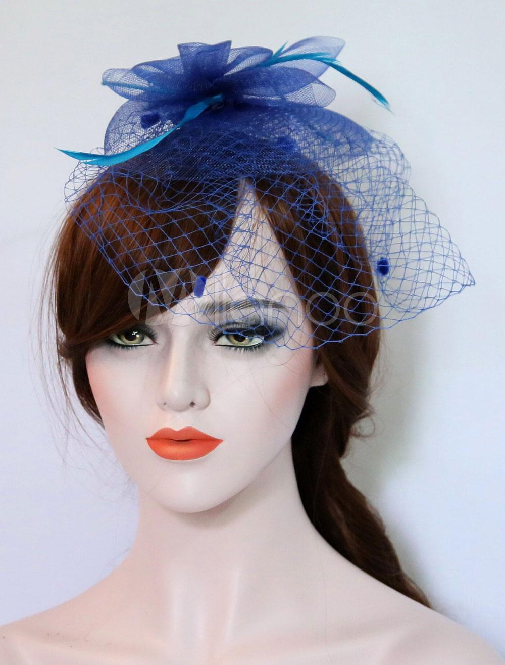 ... Tulle Fascinator Hat Wedding Royal Blue Feathers Vintage Bridal  Headpieces-No.4 ... 8764586f6c0