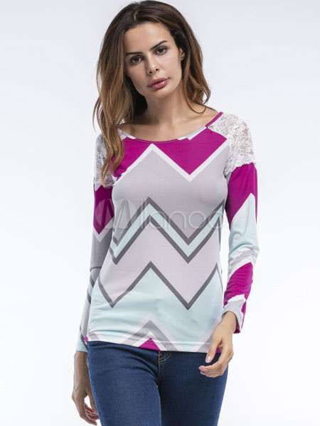 Buy Grey T Shirt Lace Patchwork Wavy Striped Round Neck Long Sleeve Top For Women for $18.39 in Milanoo store