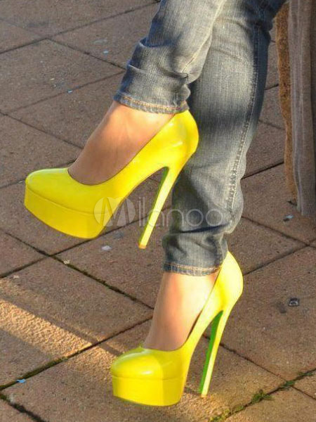 Zapatos de plataforma Cuero con apariencia suave naranja Color liso UqgIDyG9X