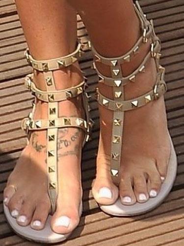 Women's Gladiator Sandals Open Toe Flat PU Apricot Sandal Shoes