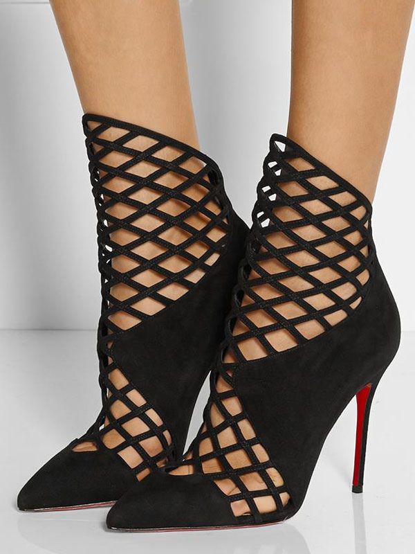 Black Sandal Booties Pointed Toe Stiletto Heel Cut Out Women's Ankle Boots
