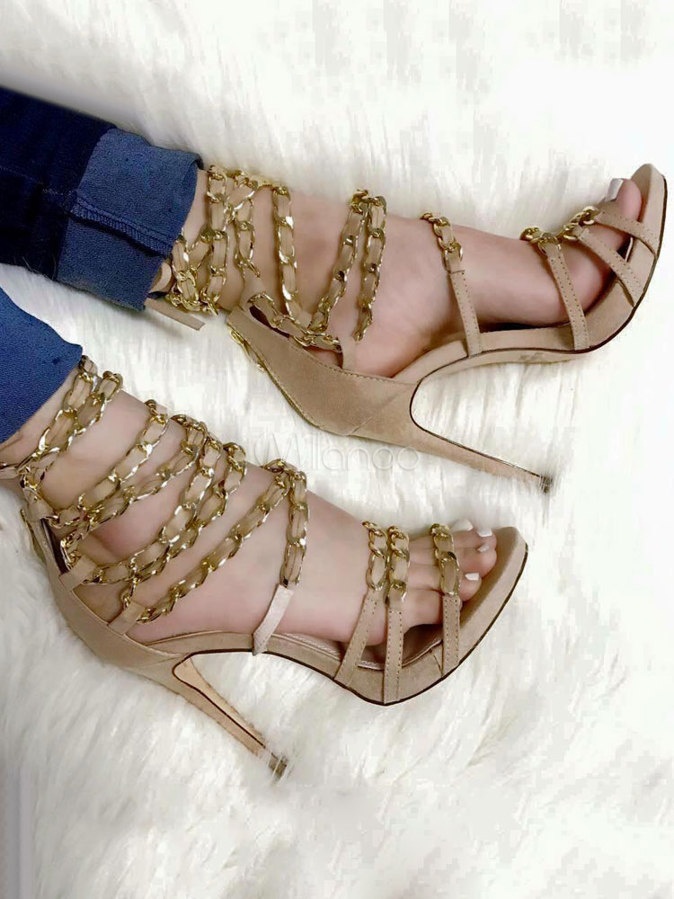 Buy Women's Gladiator Sandals Open Toe Stiletto Heel PU Apricot Sandal Shoes for $56.99 in Milanoo store