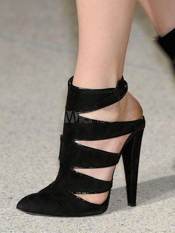Zapatos de tacón de puntera puntiaguada Cuero con apariencia suave negros Color liso de tacón de prisma EhUox