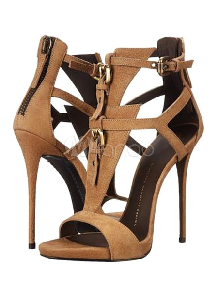 Buy Brown Gladiator Sandals High Heel Open Toe Suede Plus Size Stiletto Shoes For Women for $62.09 in Milanoo store