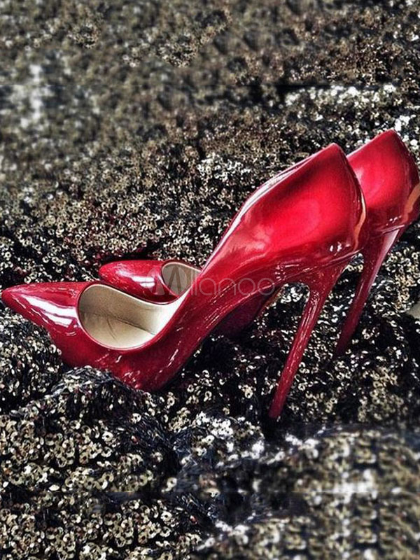 Red High Heels Pointed Toe PU Slip On Pumps Women Sexy Shoes