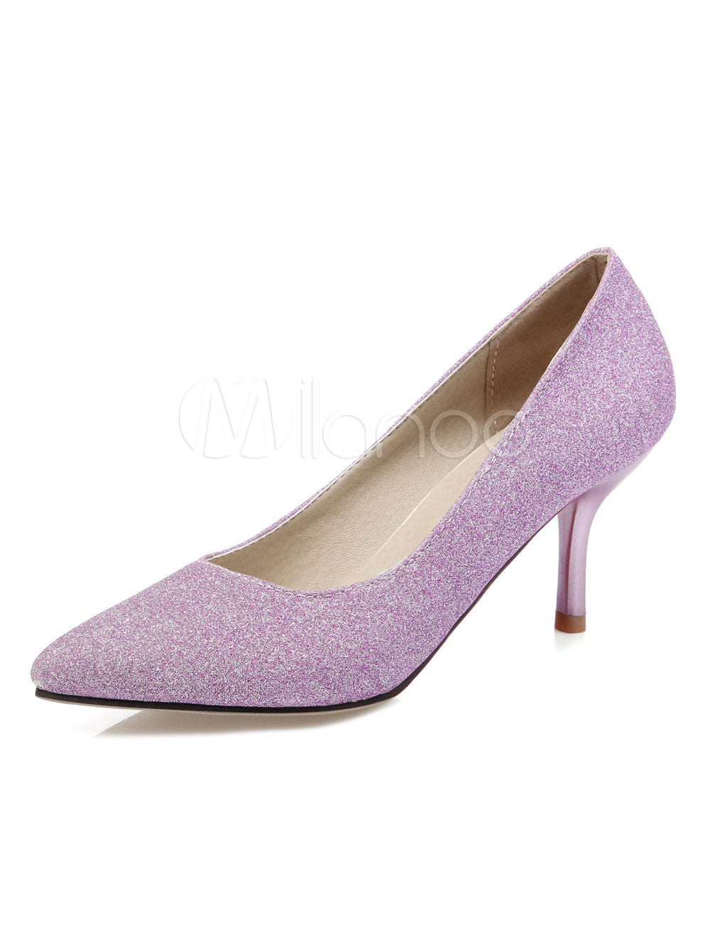 6bf91096c04 Purple Evening Shoes Pointed Toe Stiletto Heel Sequined Pumps For ...
