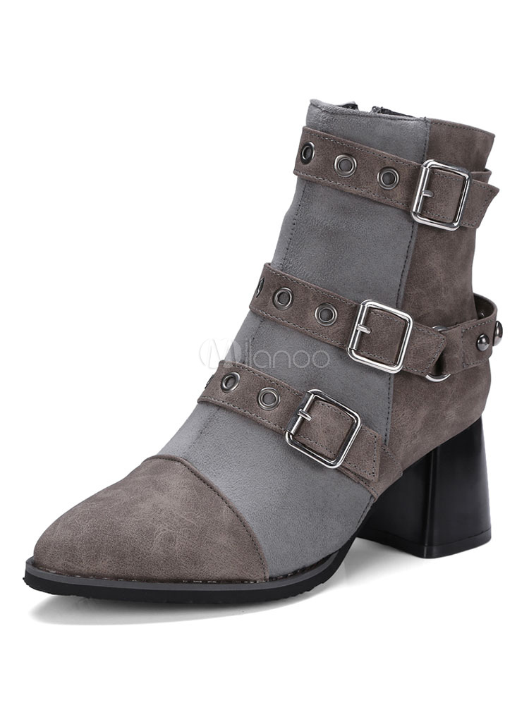 Women Ankle Boots Combat Boots Grey Pointed Toe Metal Detail Suede Boots