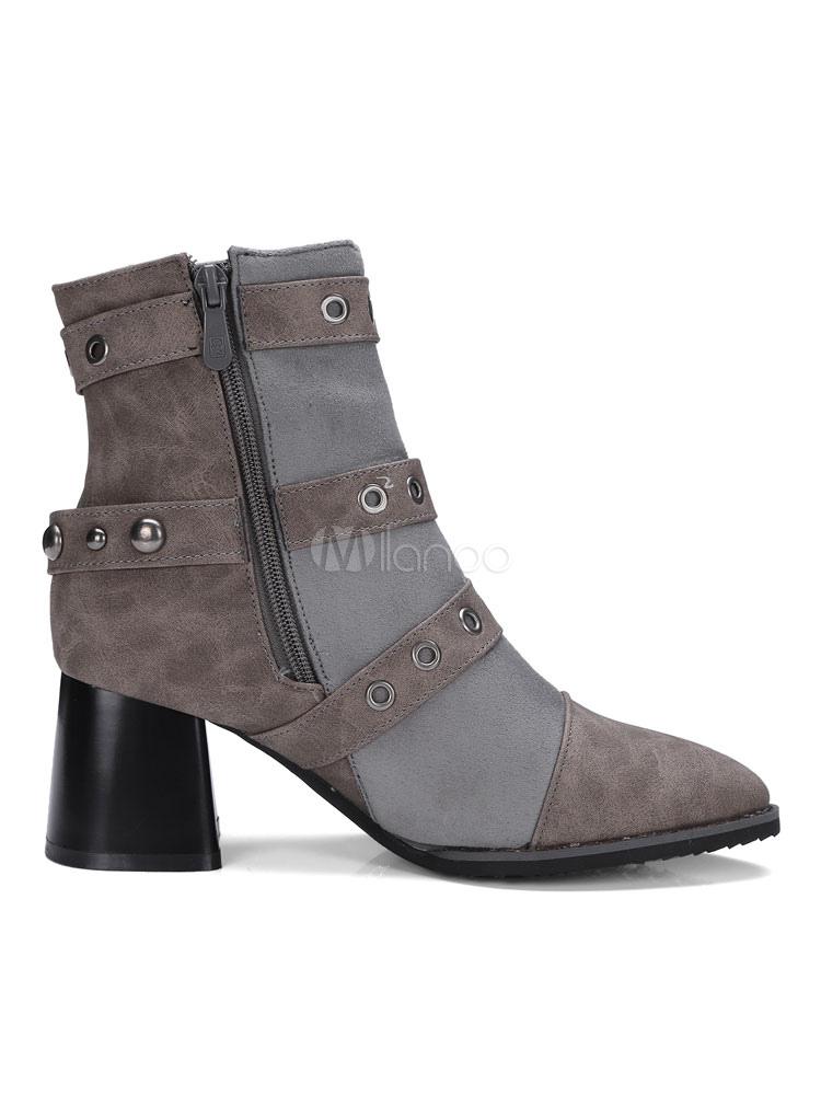 damen stiefeletten combat boots graue spitze zehe metall. Black Bedroom Furniture Sets. Home Design Ideas