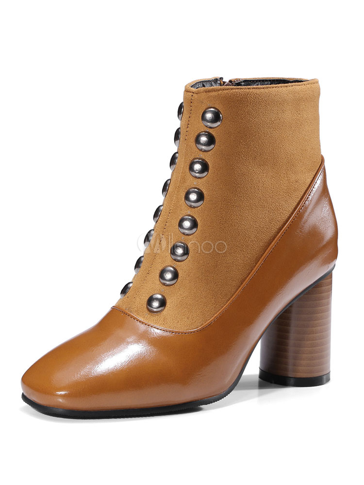 Buy Women Ankle Boots Suede PU Upper Square Toe Rivets Chunky Heel Brown Winter Booties for $39.59 in Milanoo store