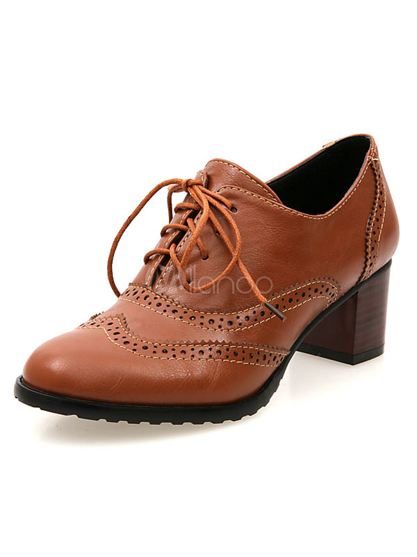f1e3005aed Zapatos de Oxford con cinta de puntera redonda de tacón gordo para mujer  estilo street wear ...
