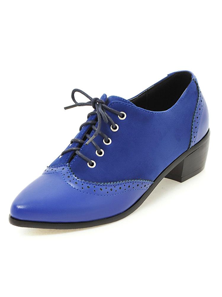 Women Oxford Shoes Suede Oxfords Blue