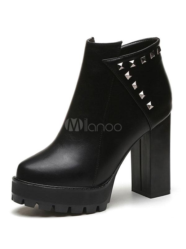 Buy Black Ankle Boots High Heel Booties Platform Beaded Women Booties for $26.99 in Milanoo store