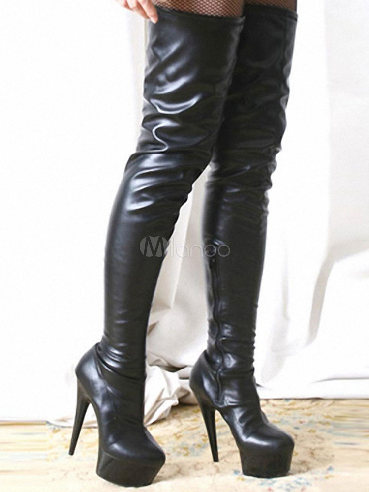 Over The Knee Boots Black Sexy High Heel Stiletto Round Toe Faux Leather Thigh High Boots For Women