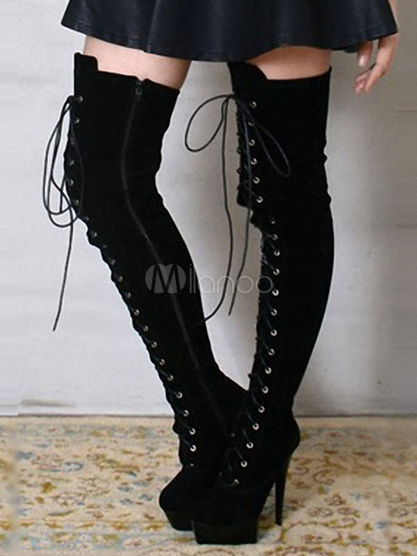 Buy Over The Knee Boots Women's Sexy Platform High Heel Lace Up Round Toe Thigh High Boots for $114.99 in Milanoo store