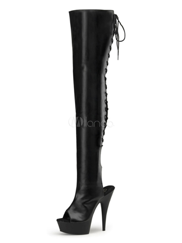 Buy Over The Knee Boots Black Sexy High Heel Stiletto Peep Toe Lace Up Faux Leather Thigh High Boots For Women for $114.99 in Milanoo store