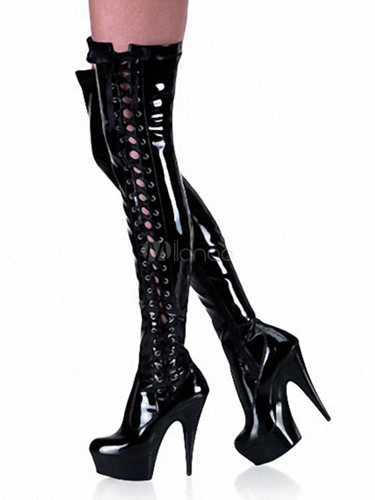 Botas de puntera redonda de tacón de stiletto con pala de laca brillante con cordones estilo moderno YMGaVWUy2